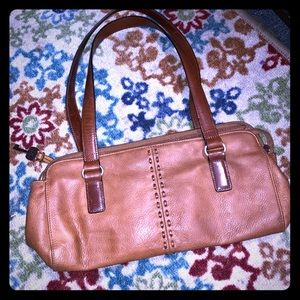 Fossil cognac leather shoulder bag. NEW.